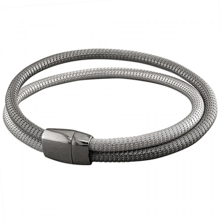 2-strand rhodium- and black-plated magnetic mesh