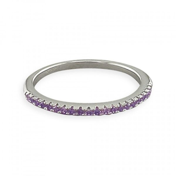 Purple cubic zirconia thin half eternity