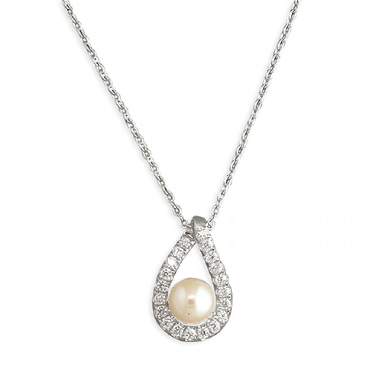 42-45cm cubic zirconia outline teardrop with freshwater pearl