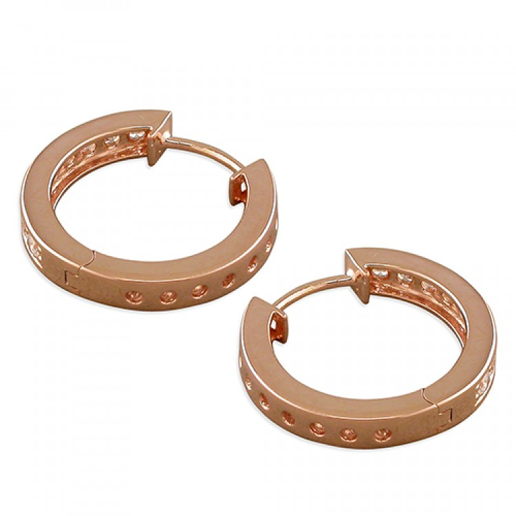 20mm Rose gold-plated cubic zirconia huggie
