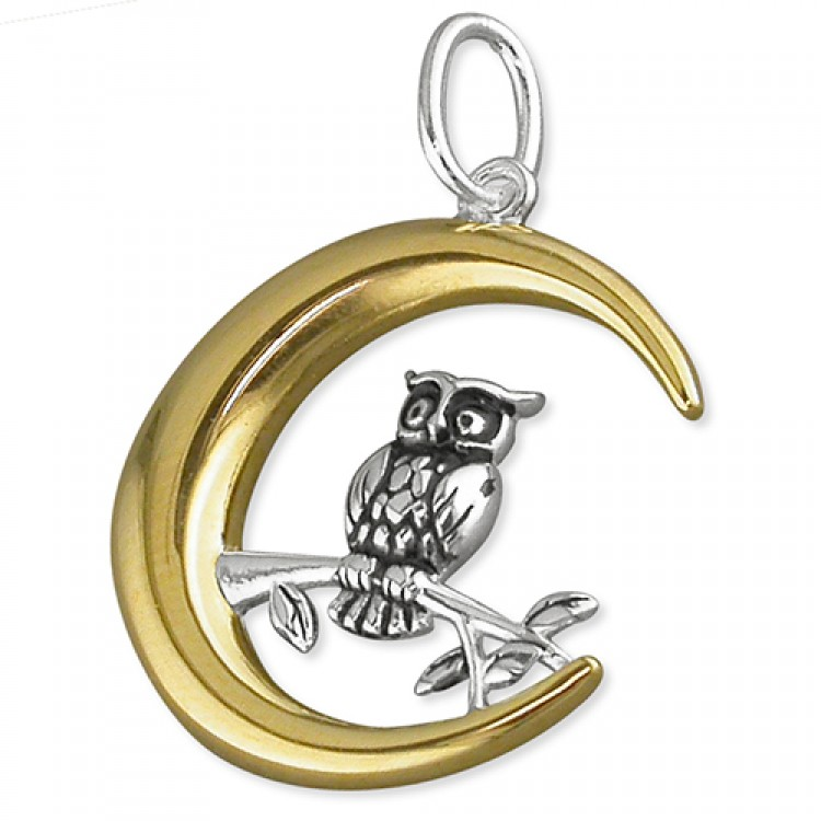 Owl on a branch in gold crescent moon