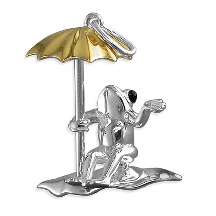 Frog on lily pad with gold umbrella