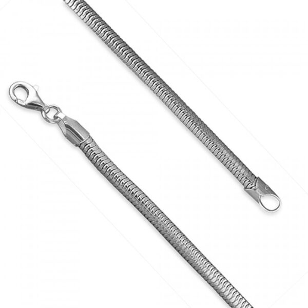 21cm/8.25in mens rhodium-plated round snake