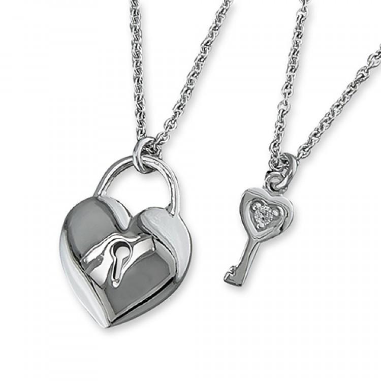 38-42cm cubic zirconia key with heart padlock