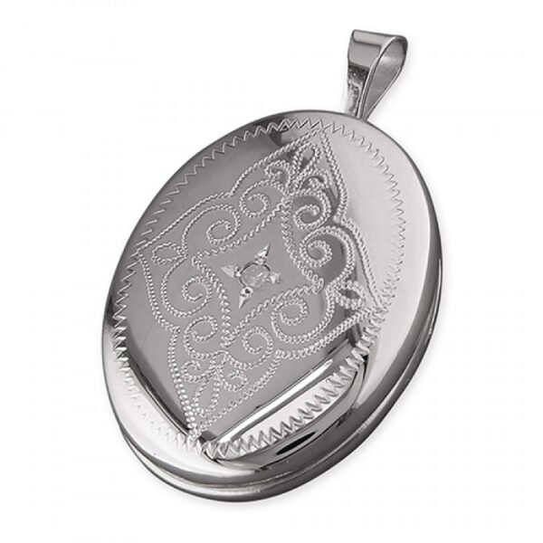 16mm rhodium-plated oval with diamond and engraving