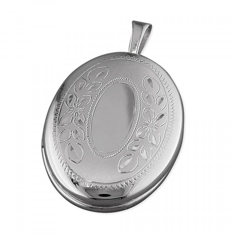 16mm rhodium-plated oval with leaf pattern