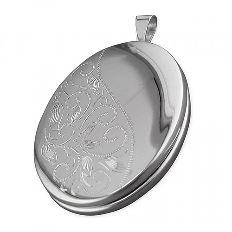 20mm rhodium-plated oval with part engraved leaf pattern