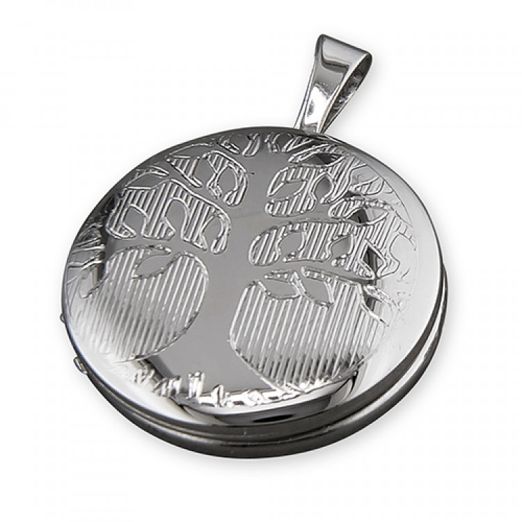 16mm rhodium-plated round Tree of Life