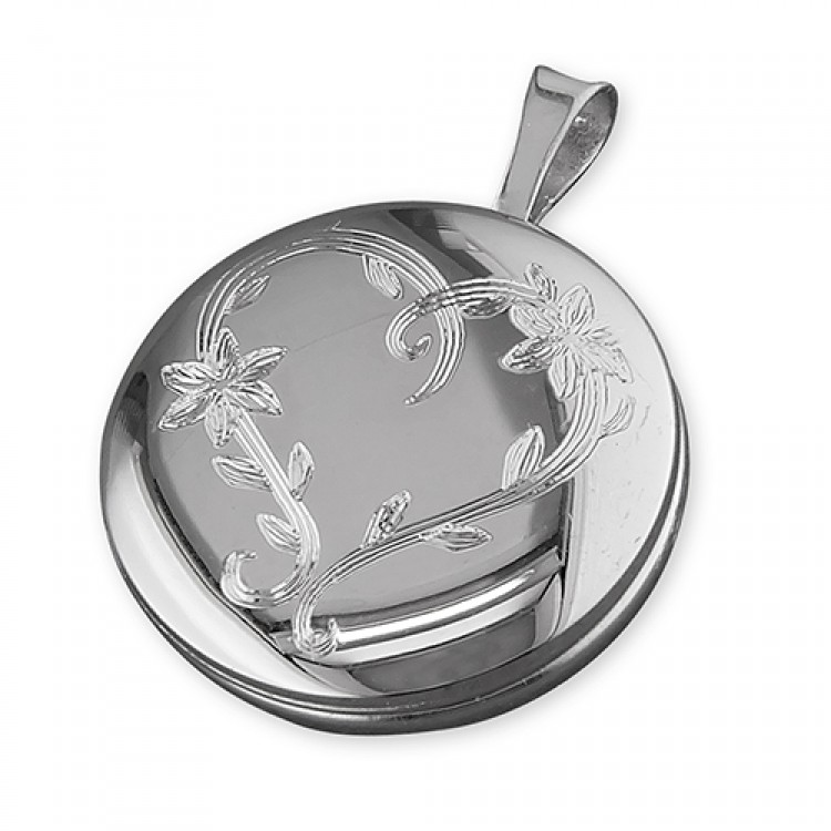 16mm round rhodium-plated with leaf-engraved heart