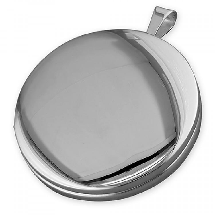 22mm plain rhodium-plated round