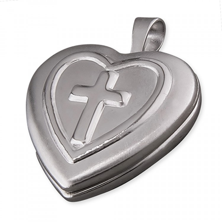 16mm rhodium-plated heart with embossed cross