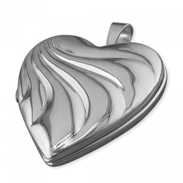 20mm rhodium-plated heart with embossed wave pattern