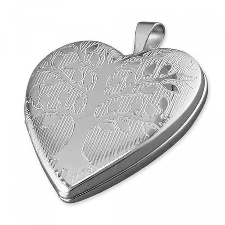 20mm rhodium-plated heart with Tree of Life pattern