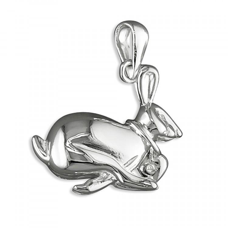 Running hare with 0.01ct diamond collar