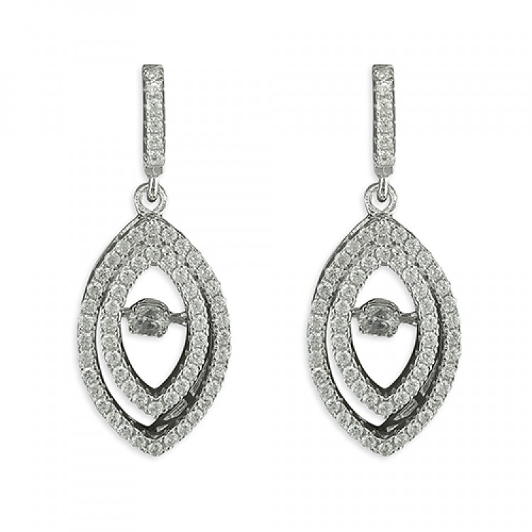 Cubic zirconia pointed ovals with jiggly cubic zirconia