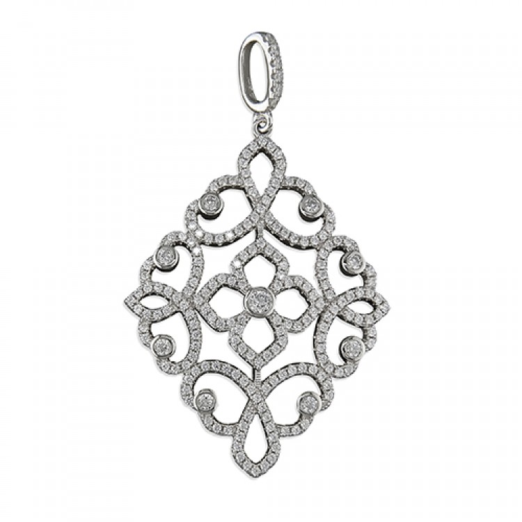 Large cubic zirconia diamond-shaped filigree
