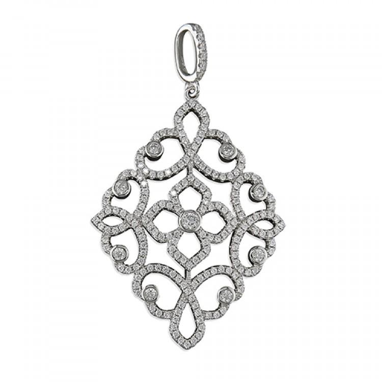 Large cubic zirconia diamond-shaped filigree