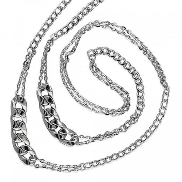 96-98cm Mens rhodium-plated mixed chains