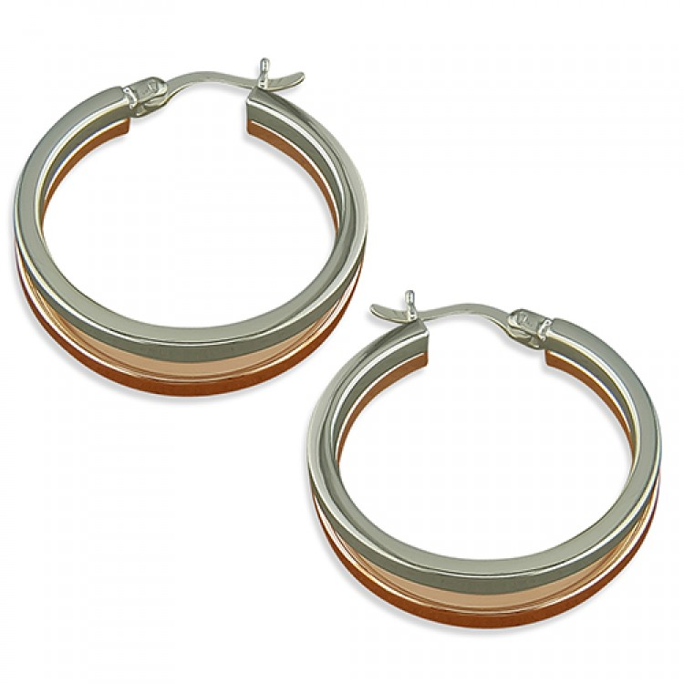 25mm 2-tone rose-gold and silver split hinged hoop