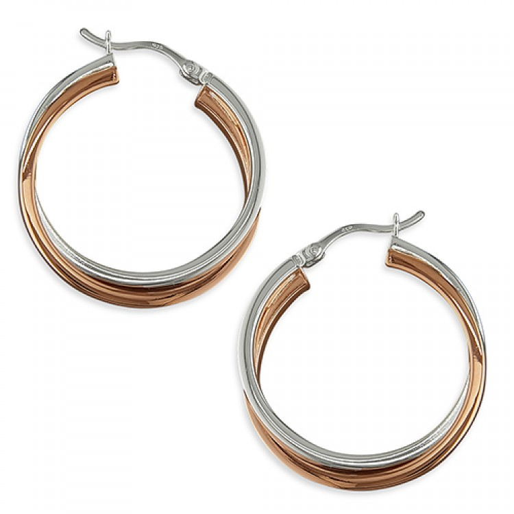 2-tone rose-gold plated/silver cross-over hinged hoop