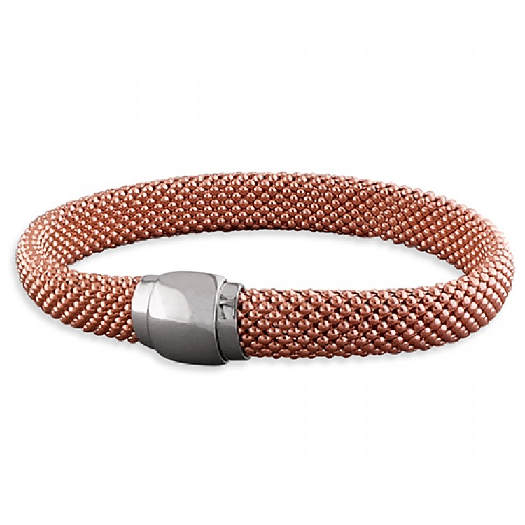 20cm rose-gold plated broad mesh with magnetic clasp