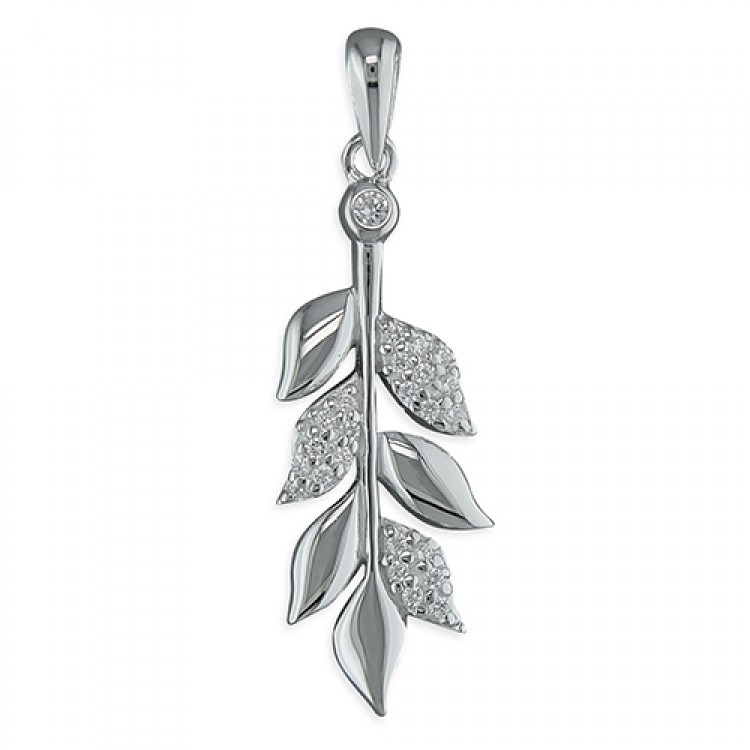 Cubic zirconia and plain leaves on branch