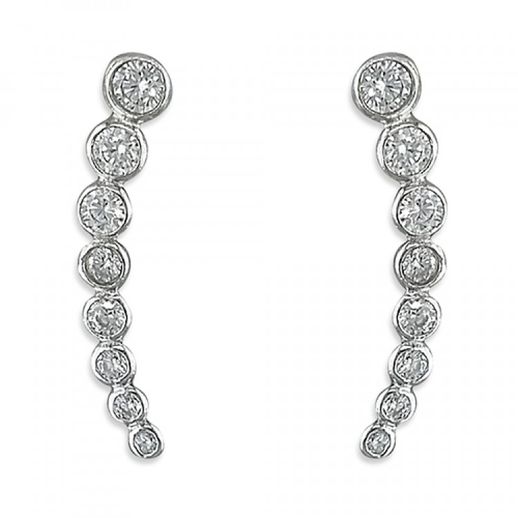 Eight rub-over cubic zirconias up-the-ear