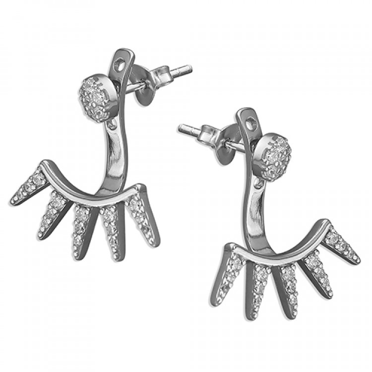 Cubic zirconia 5 spike front and back stud