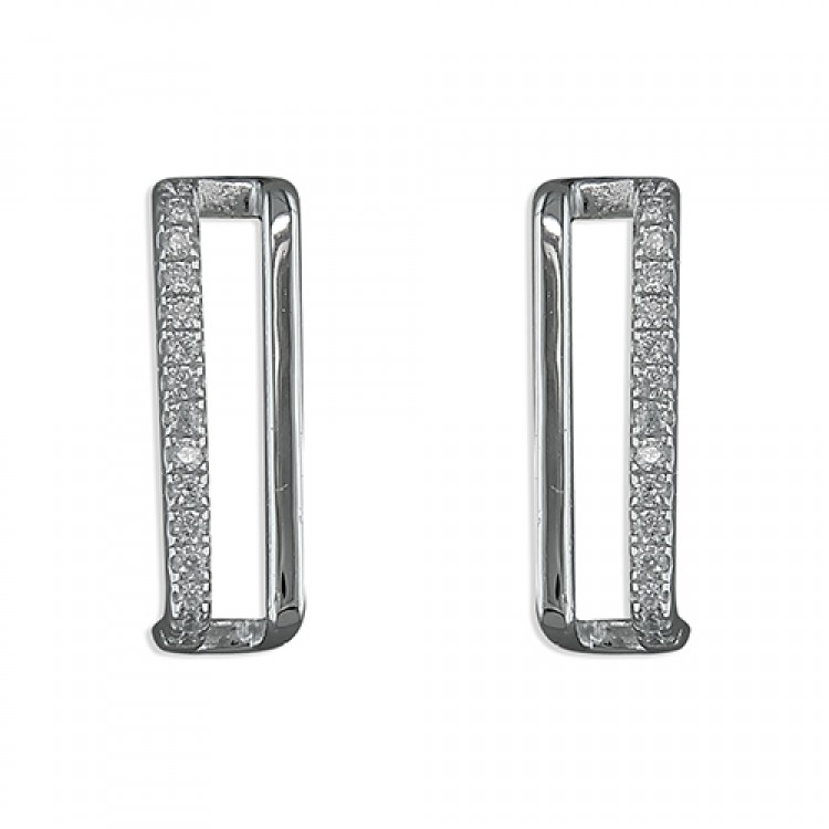Cubic zirconia and plain double bar stud