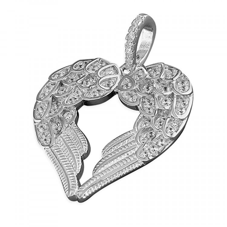 Cubic zirconia heart shaped double angel wing