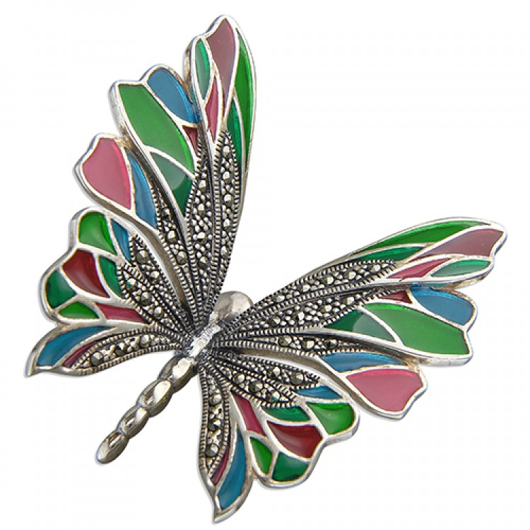 Multi-colour epoxy and marcasite butterfly