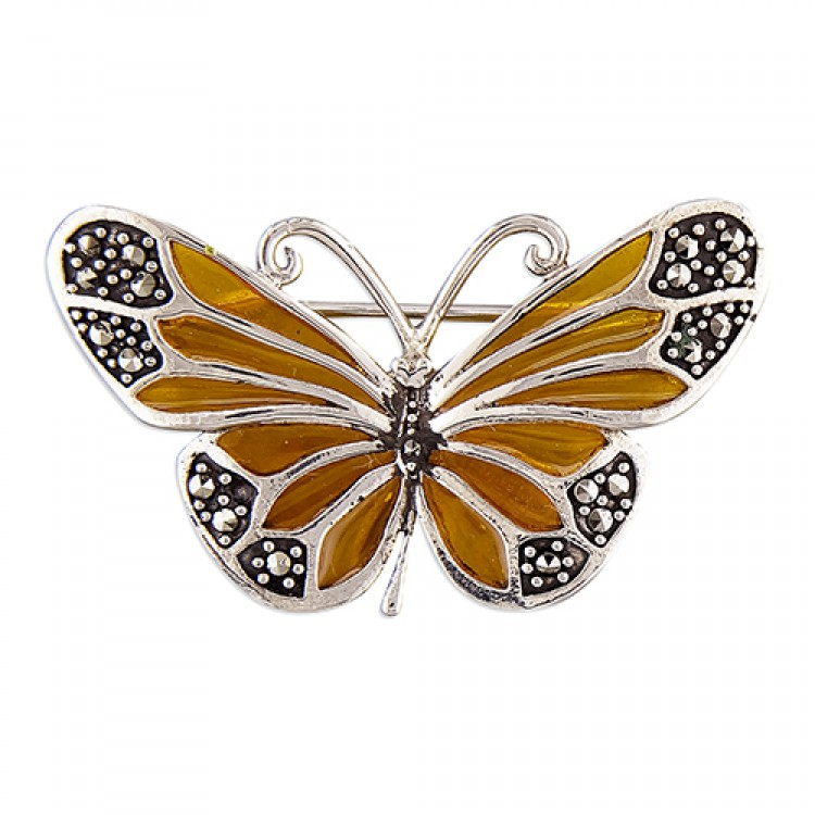 Yellow epoxy and marcasite butterfly