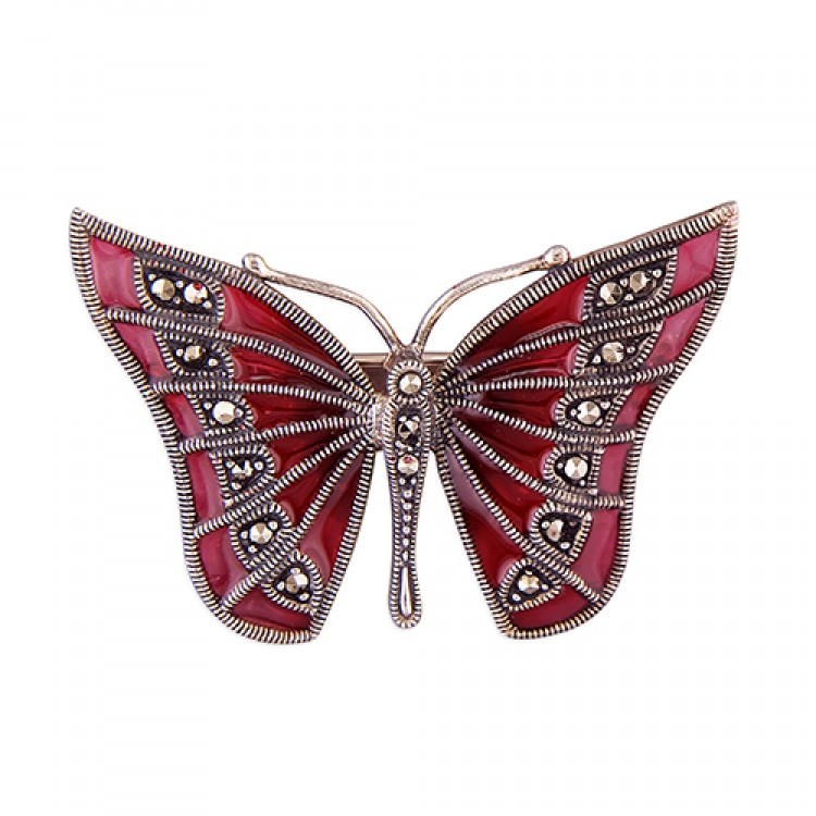 Pink epoxy and marcasite butterfly