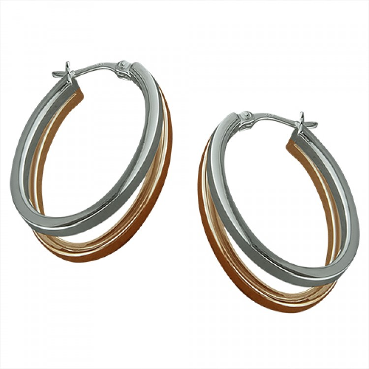 30mm oval 2-tone rose-gold and silver split hinged hoop