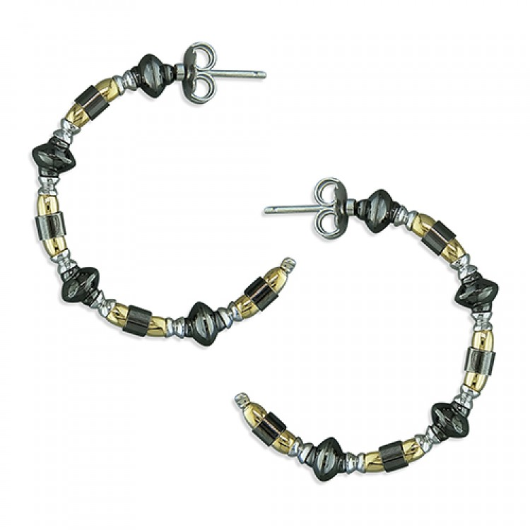 3-tone black/yellow/rhodium bead hoop