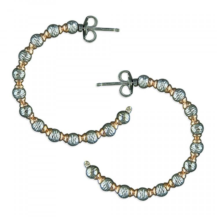 2-tone diamond-cut beads and spacers hoop
