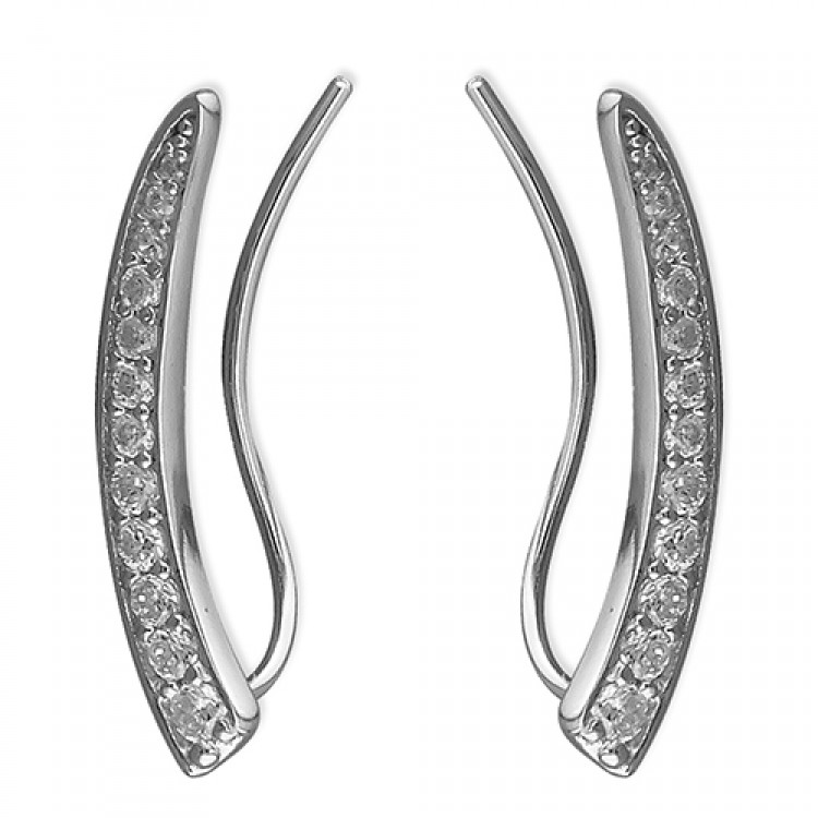 Cubic zirconia curved row up-the-ear