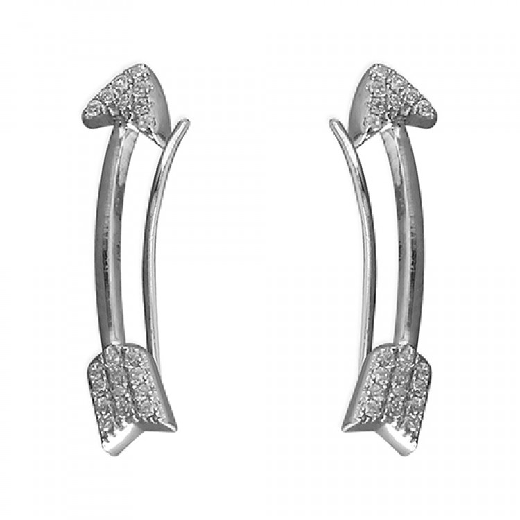 Cubic zirconia curved arrow up-the-ear