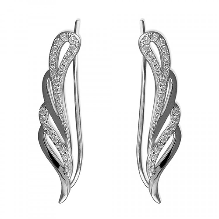Cubic zirconia angel wing up-the-ear