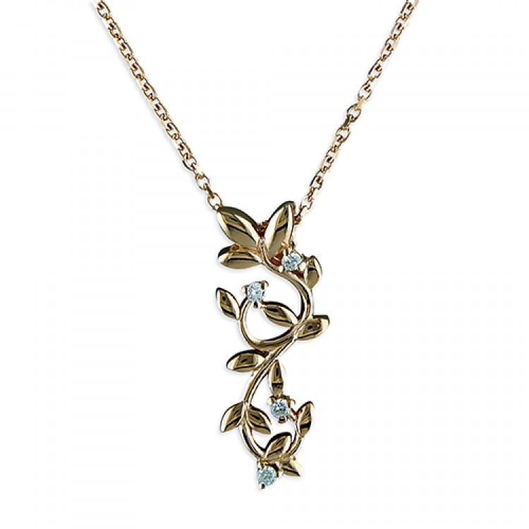 46cm/18in rose gold-plated leaves with cubic zirconias