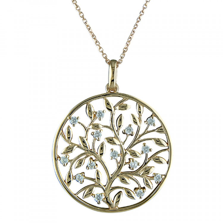 46cm/18in rose gold-plated tree cricle with cubic zirconias
