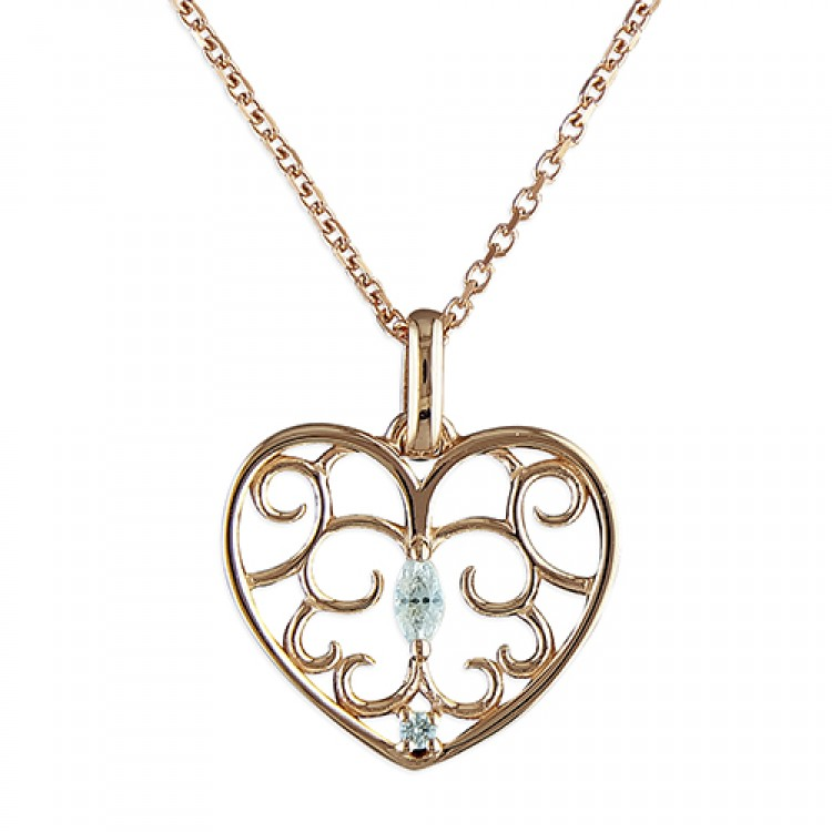 46cm/18in rose gold-plated filigree heart with cubic zirconias