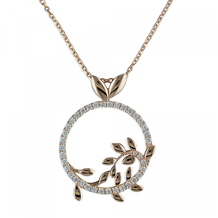 46cm/18in rose gold-plated leaves on cubic zirconia circle