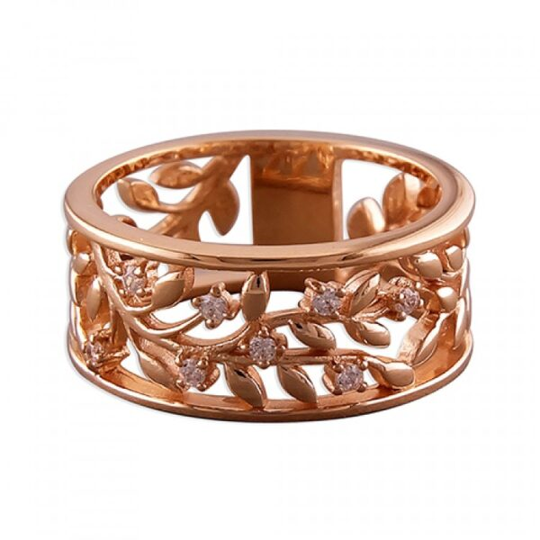 Rose gold-plated leaves with cubic zirconias cut-out band