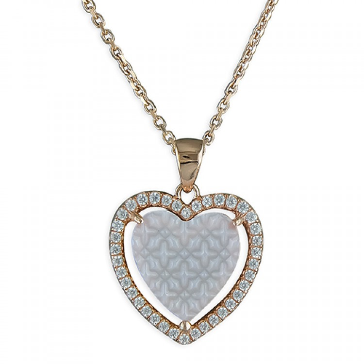 46cm/18in rose gold-plated Mother of Pearl and cubic zirconia heart