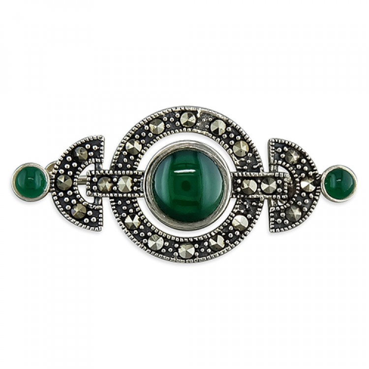 Marcasite and green Art Deco circles