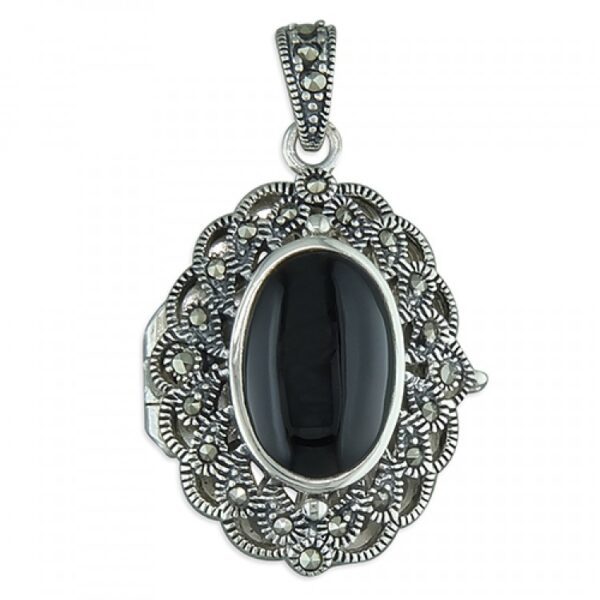 Fancy marcasite oval with black agate