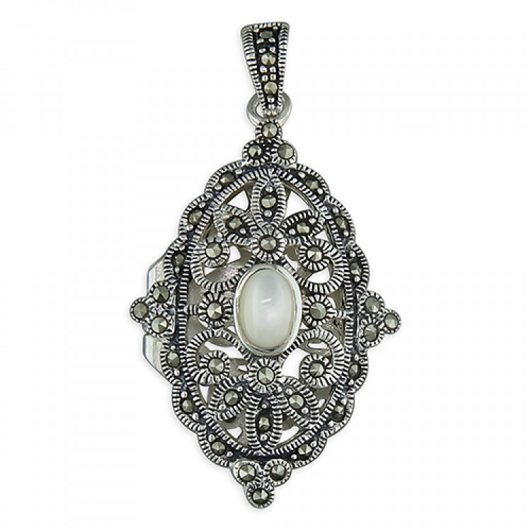 Fancy marcasite oval with Mother of Pearl