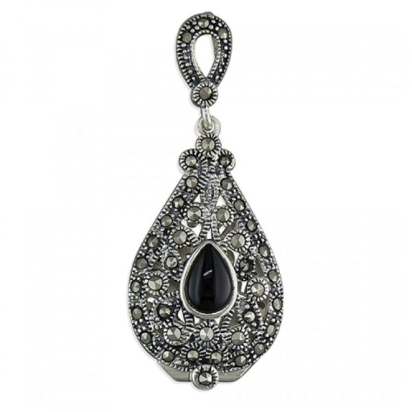 Marcasite teardrop with black agate