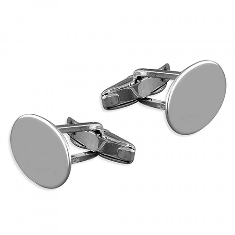 Plain oval cufflink with swivel fitting